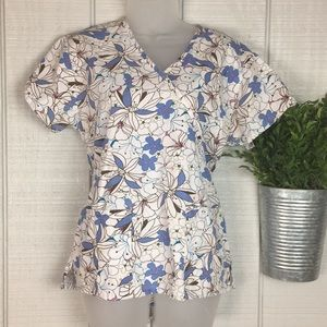 Absolute Floral Tie Back Scrub Top Sz XS